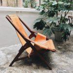 Seduta in teak e cuoio //design di Tidemand Ruud Arne